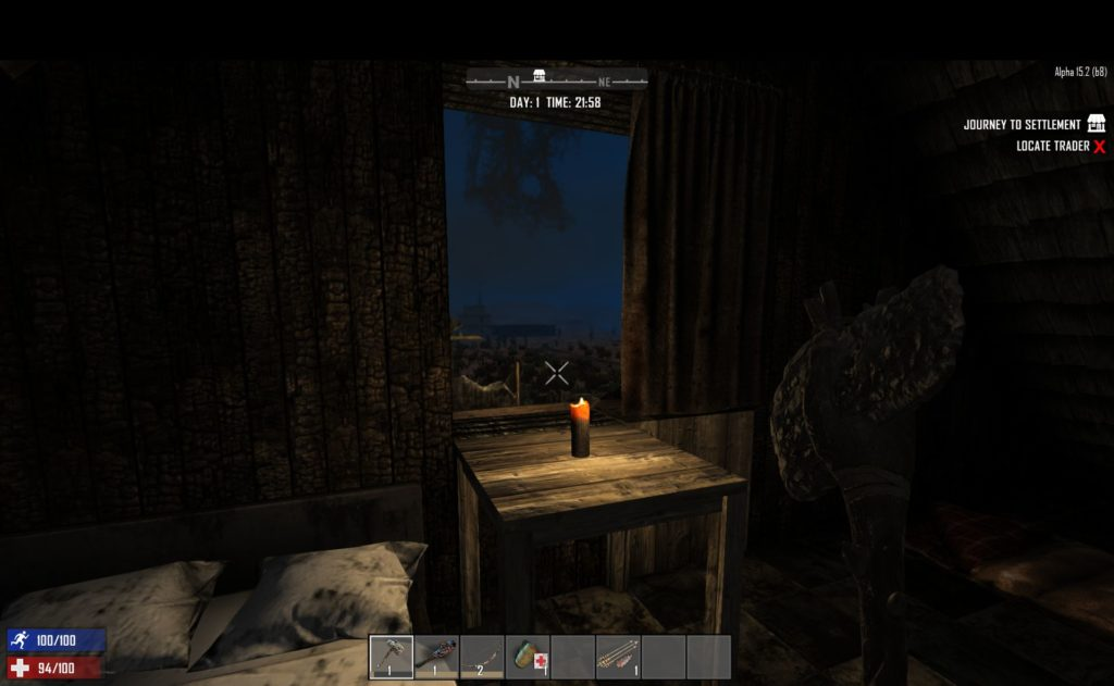 7 Days to Die: a view of a candle burning beneath a window
