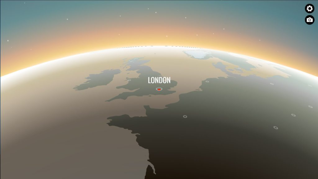 80 Days: A view of the world map with London in the center