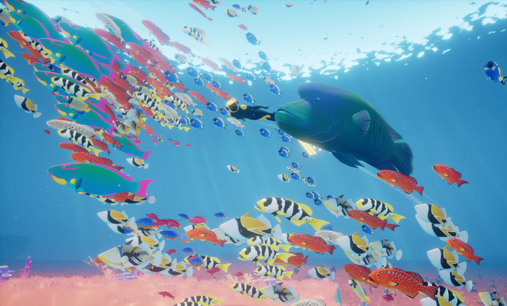 ABZU: protagonist swiming with a swarm of fish