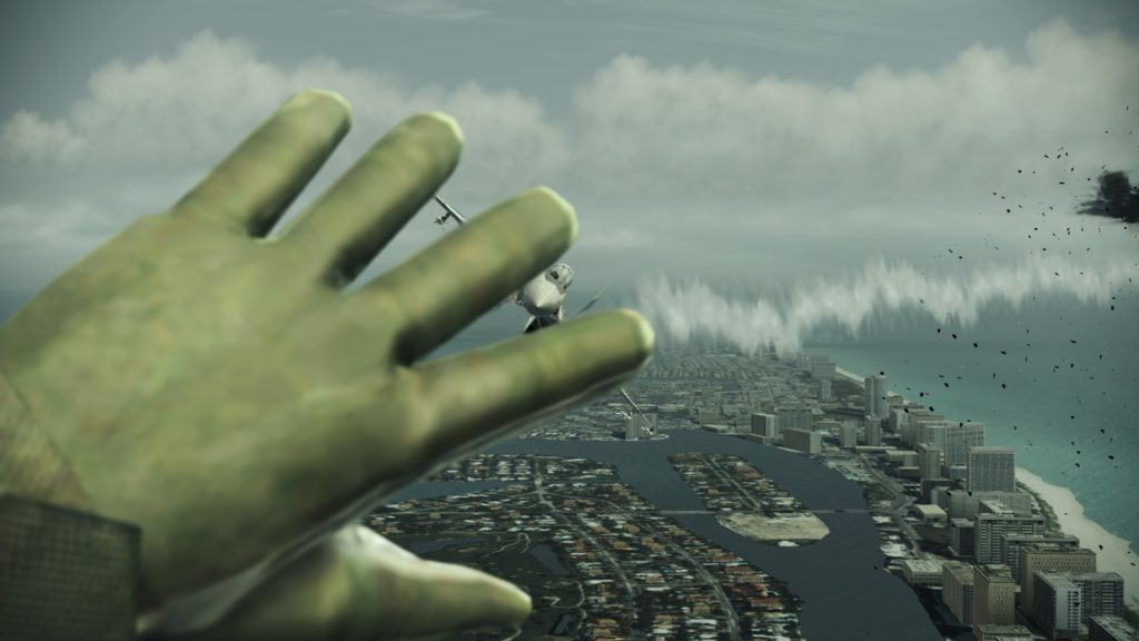 Ace Combat: Assault Horizon - Enhanced Edition: hand shielding from incoming fighter jet