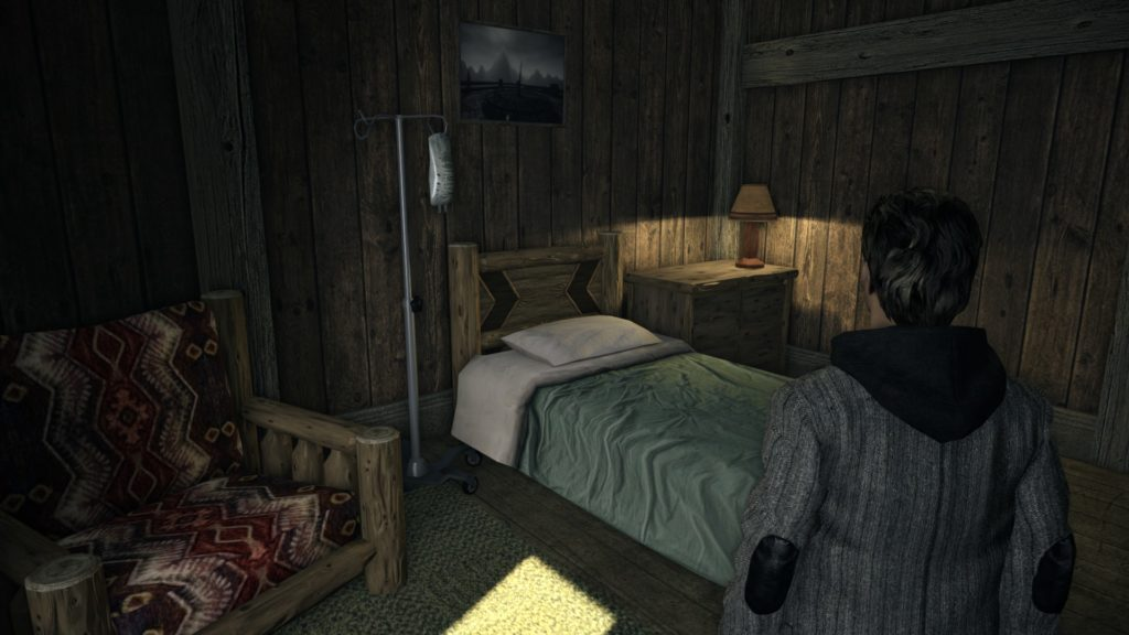 Alan Wake staring at a bed
