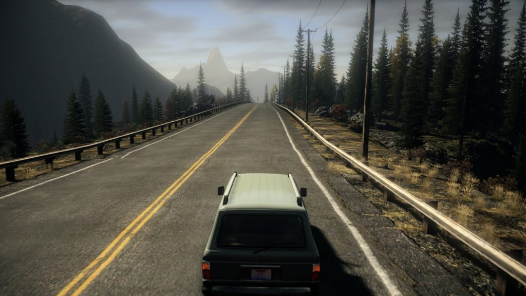 Alan Wake: Car driving on a road