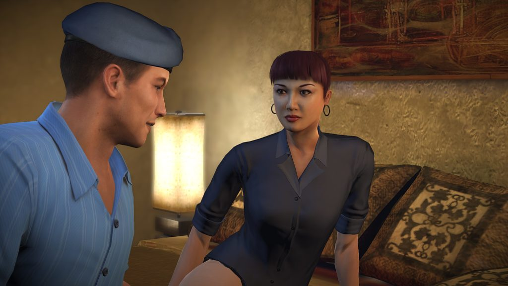 Alpha Protocol: Michael Thornton wearing a blue beret in bed with Mina