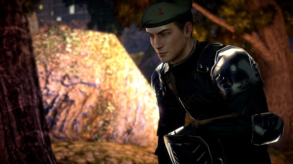 Alpha Protocol: Michael Thornton wearing a green beret