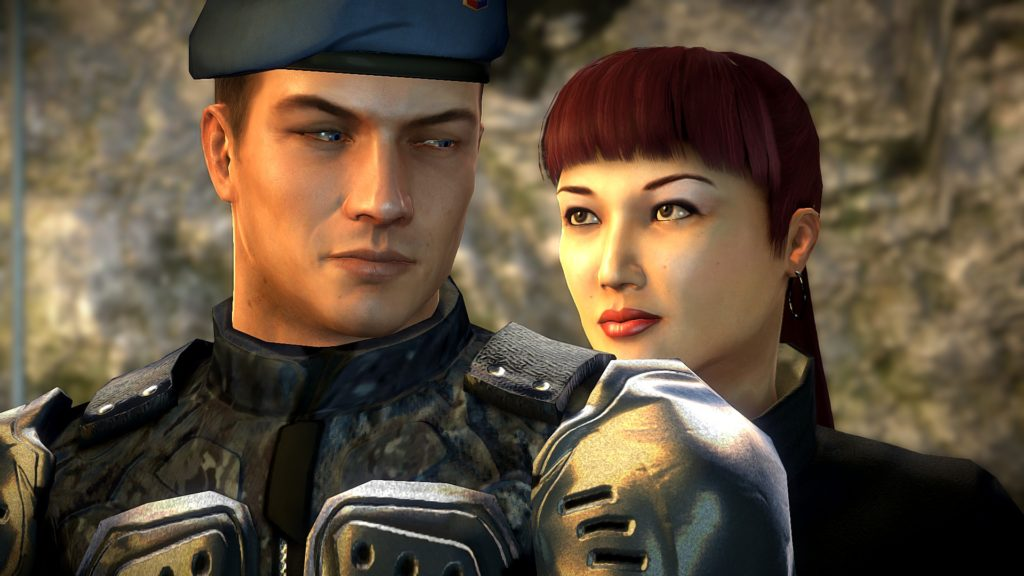 Alpha Protocol: Mina looking at Mike