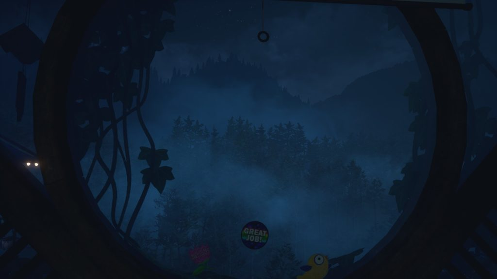What Remains of Edith Finch: a view through a round window into a dark forest