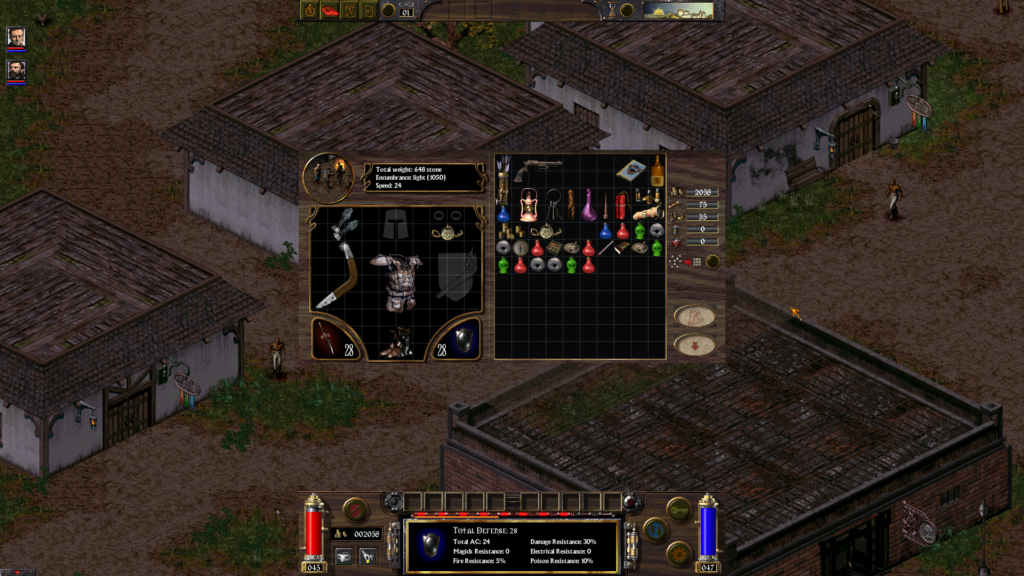 Arcanum: a look at the tiny inventory window in full HD