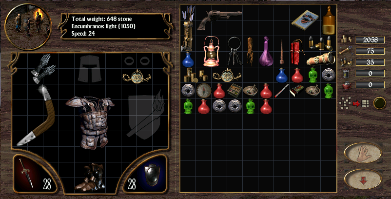 Arcanum: the inventory screen