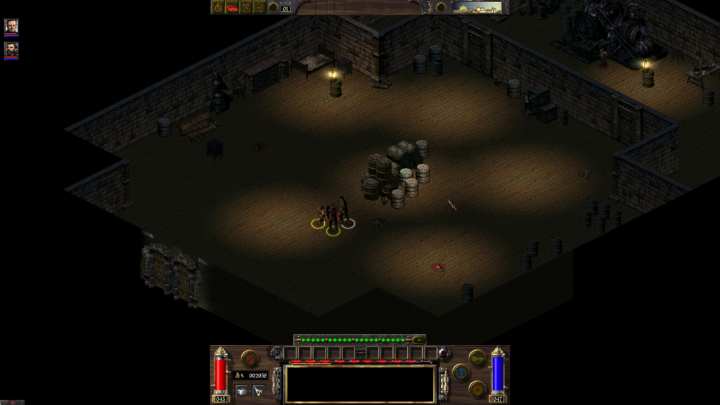 Arcanum: player fighting rats