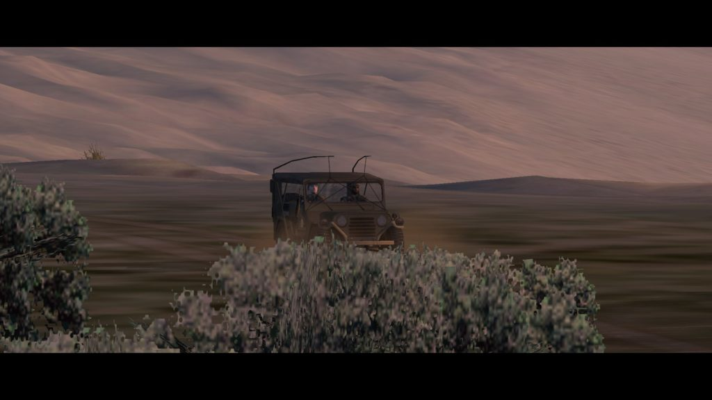 Operation Flashpoint: brown jeep in brown landscape