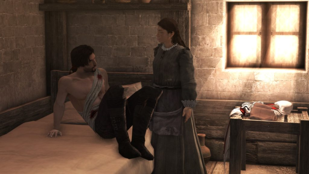 Assassin's Creed Brotherhood: a wounded man in a bed talking to a woman