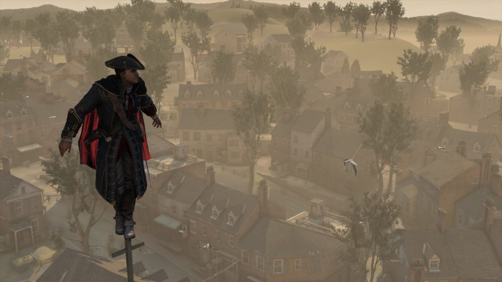 Assassin's Creed III: a man standing on the tip of a church tower