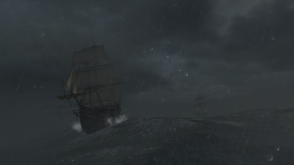 Assassin's Creed III: a sailing ship in a stormy sea