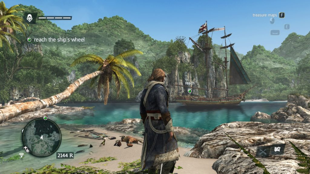 Assassin's Creed IV Black Flag: a pirate looking at a ship