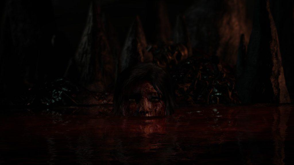 Tomb Raider: Lara bathing in a pool of blood