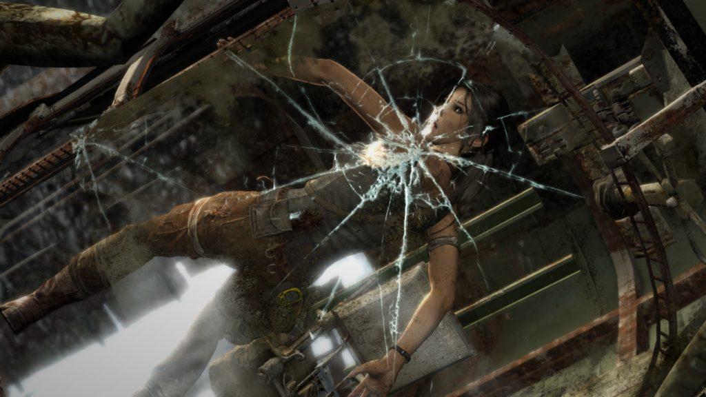 Tomb Raider: Lara on splitting glas screen
