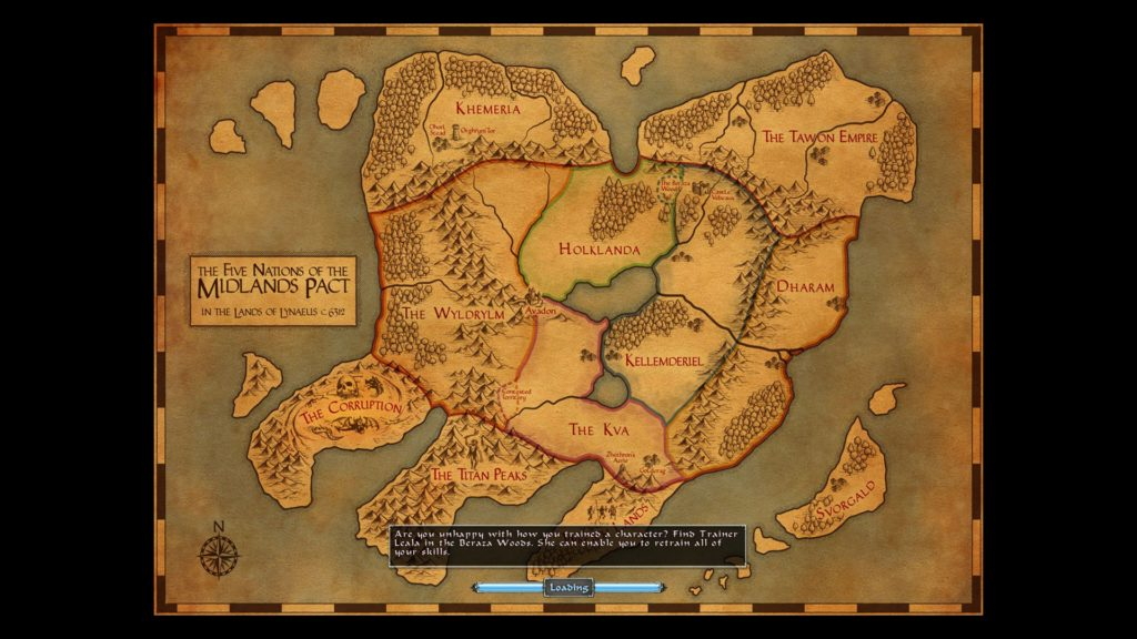 Avadon: The Black Fortress: loading screen showing a map