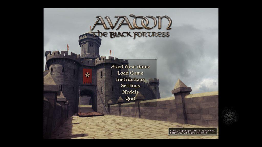 Avadon: The Black Fortress: main menu